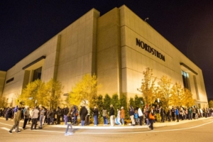 Shoppers on Black Friday wating for Nordstrom to open