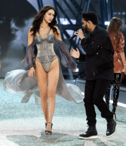 The Weekend performing and Bella Hadid walking down the Victoria Secret Fashion Show 2016